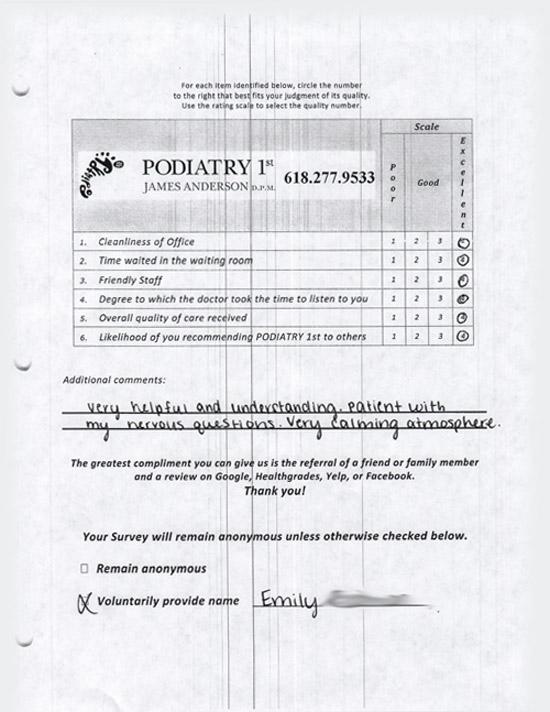 Review Survey For Belleville illinois favorite podiatrist 14