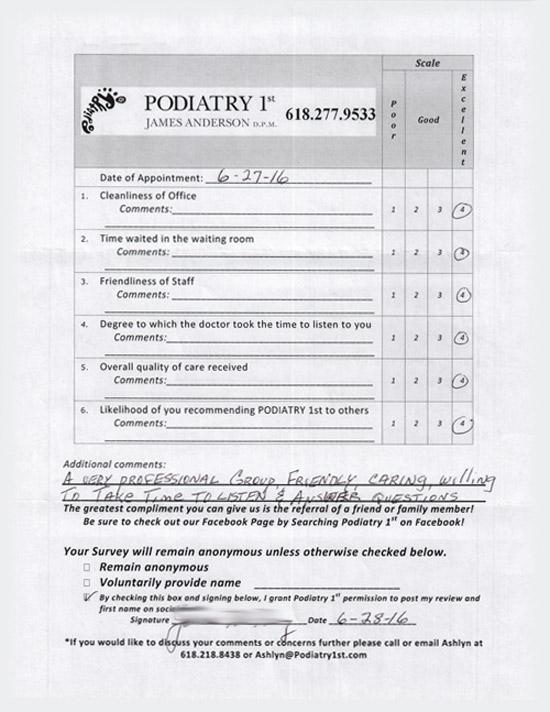 Review Survey For Belleville illinois favorite podiatrist 6